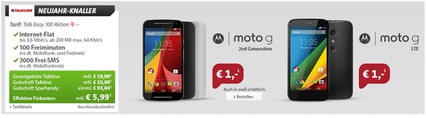 Motorola Moto G + Talkline Talk Easy 100 Aktion bei Sparhandy