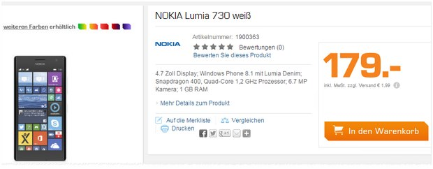 Nokia Lumia 730 am Saturn Super Sunday für 179 Euro