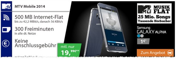Samsung Galaxy Alpha + MTV Mobile von E-Plus