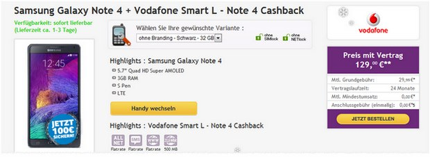Samsung Galaxy Note 4 + Vodafone Smart L bei Talkthisway