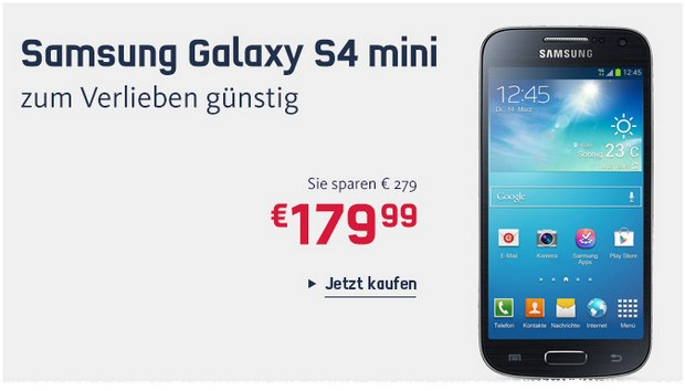 samsung galaxy s4 mini g nstig als neuware unter 150. Black Bedroom Furniture Sets. Home Design Ideas
