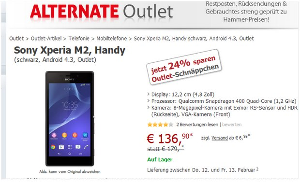 Sony Xperia M2 ohne Vertrag bei Alternate im Outlet