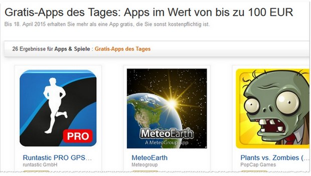 Amazon Gratis-Apps bis zu 100 Euro