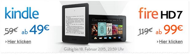 Amazon Kindle-Aktion bis 18.2.2015, 23:59 Uhr