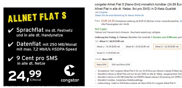 Congstar Flex-Tarife bei Amazon