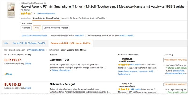 Huawei Ascend P7 mini in Weiß bei den Amazon Warehouse Deals