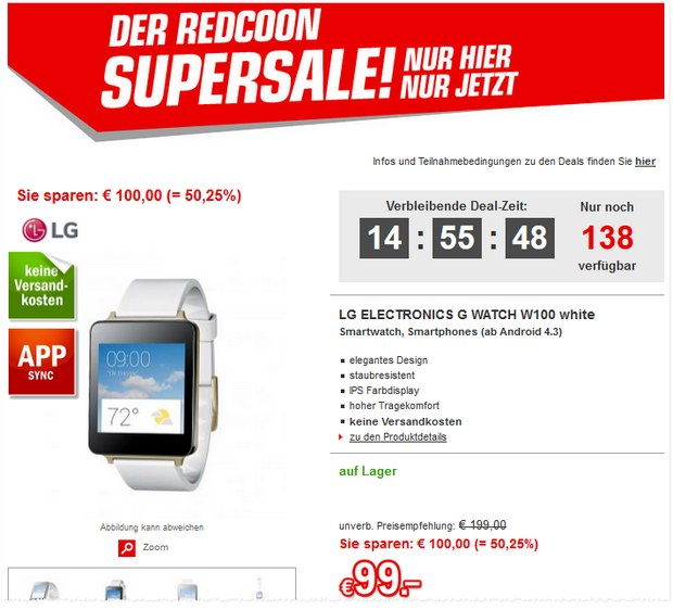 LG G Watch W100 im Redcoon Supersale für 99 €