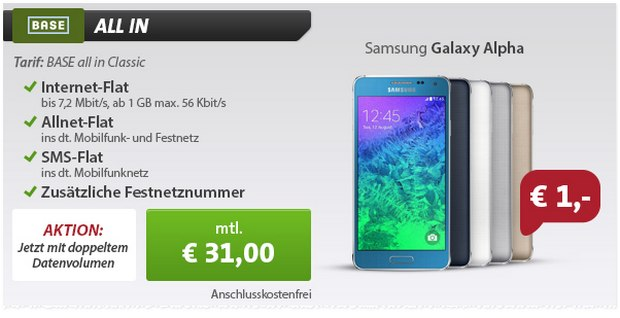 Samsung Galaxy Alpha Vertrag mit BASE all-in bei Sparhandy