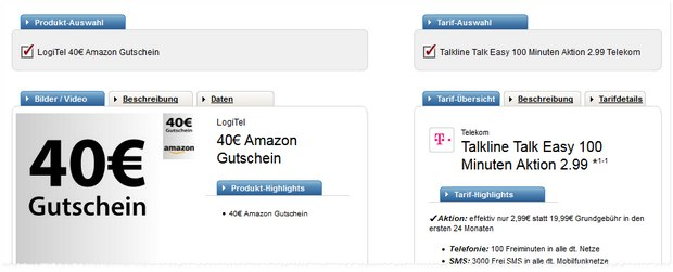 Talkline Talk Easy 100 + 40 € Amazon-Gutschein bei Logitel