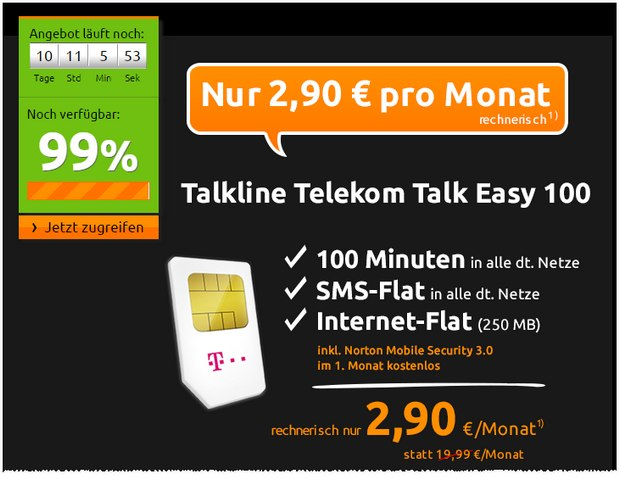 talkline talk easy 100 d1 im 1 jahr gratis. Black Bedroom Furniture Sets. Home Design Ideas