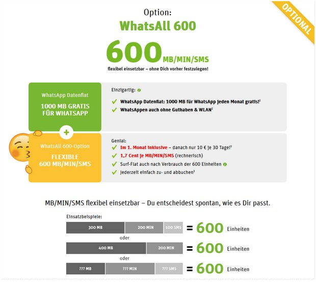 WhatsAppSIM WhatsAll-Tarif