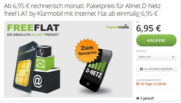 freenetmobile freeFLAT als Groupon-Gutschein bei Modeo ab 6,95 €