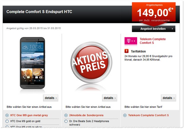 HTC One M9 + Telekom Complete Comfort S bei 24mobile