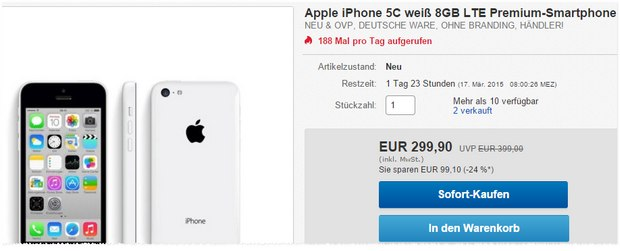 iphone 5c ohne vertrag 16gb 165 b ware. Black Bedroom Furniture Sets. Home Design Ideas