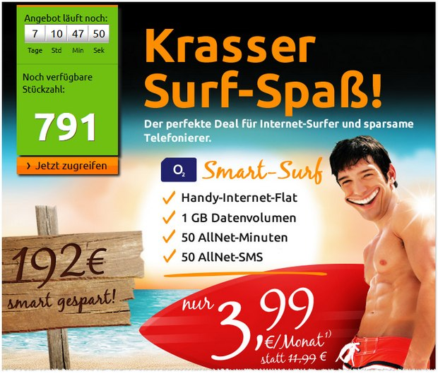 o2 Smart Surf bei Crash-Tarife für 3,99 €