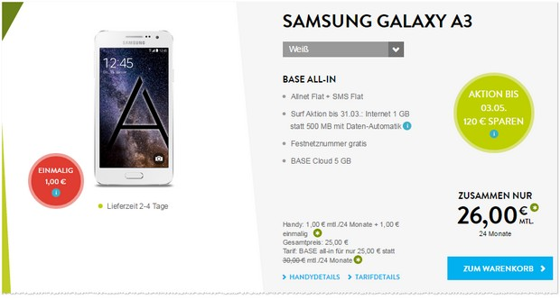 Samsung Galaxy S3 + BASE all-in für 26 €