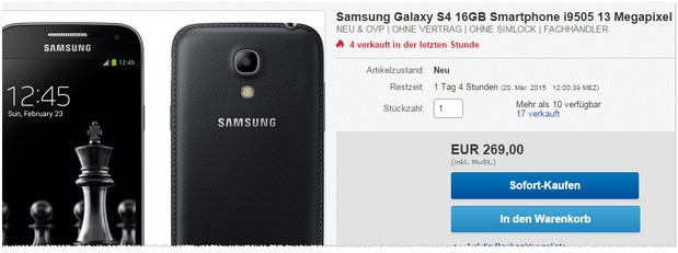 Samsung Galaxy S4 Black Edition für 269 €