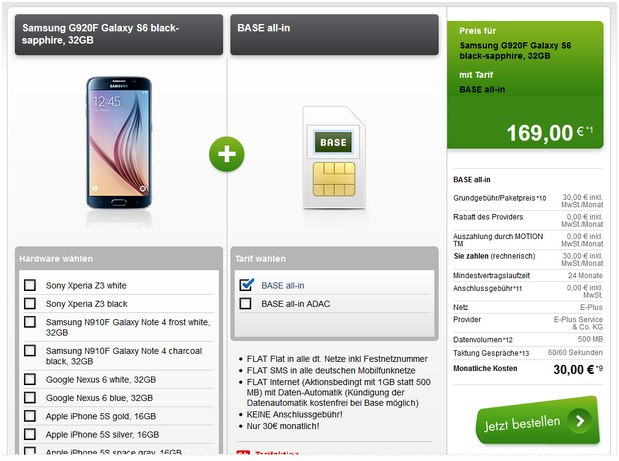 Samsung Galaxy S6 + BASE all-in bei Modeo