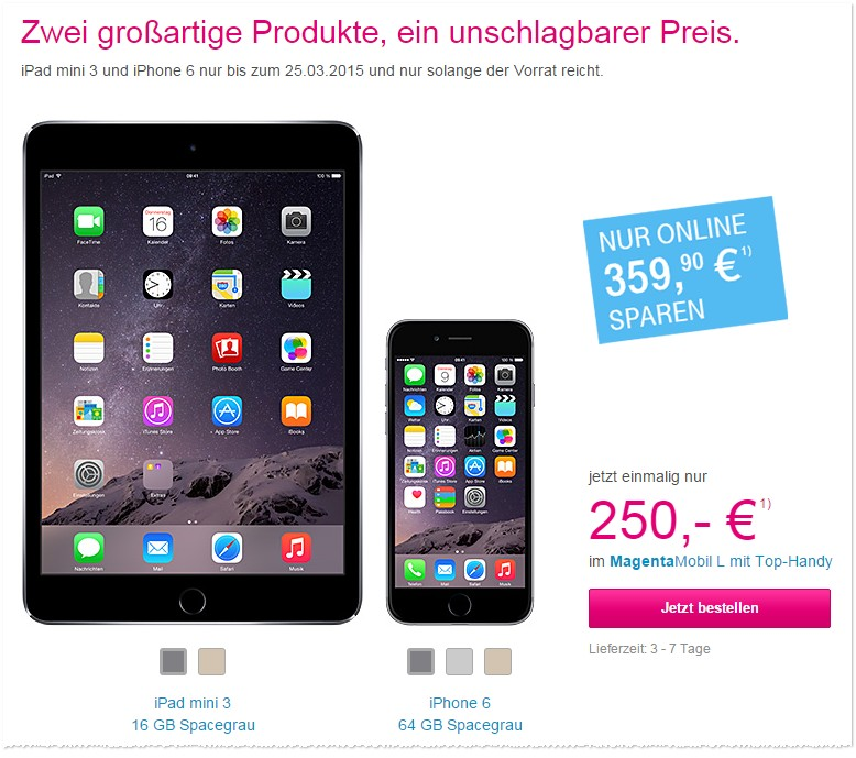 Telekom Magenta Mobil + iPhone 6 + iPad mini 3