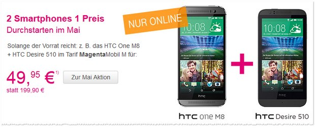 Telekom Mai-Aktion mit HTC-Bundle oder Sony-Bundle