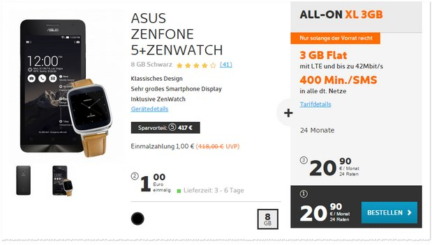 Asus Zenfone 5 + ZenWatch mit Simyo All-on XL + 3GB für 20,90 €