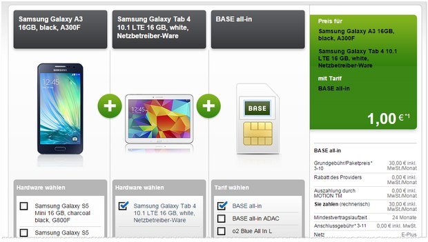 BASE all-in + Samsung Galaxy A3 mit GalaxyTab 4 gratis bei Modeo