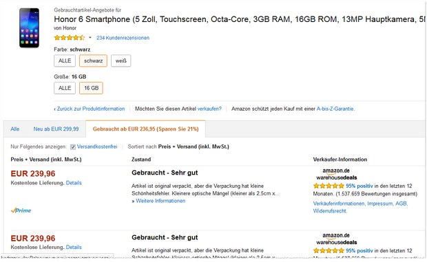 Honor 6 in den Amazon Warehouse Deals für 240 €