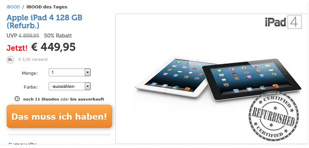 Apple iPad 4 (128 GB) WiFi+4G (LTE) refurbished bei iBOOD für 449,95 € + 5,95 € Versand
