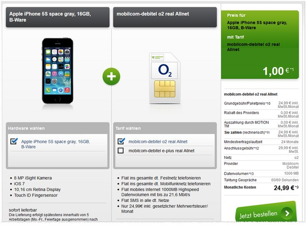 iPhone 5S + real Allnet bei Modeo