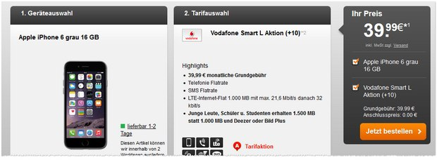 iPhone 6 + Vodafone Smart L bei Handyflash