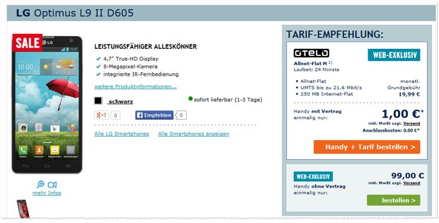 LG Optimus L9 II D605 bei Phone House für 99 €