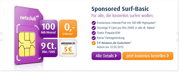 netzclub Sponsored Surf Basic + 5 € Amazon-Gutschein