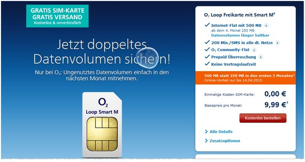 o2 loop smart m freikarte 200 einheiten 1 gb lte. Black Bedroom Furniture Sets. Home Design Ideas