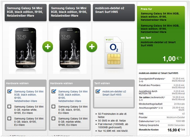 o2 Smart Surf + 2 Samsung Galaxy S4 mini für 1 €