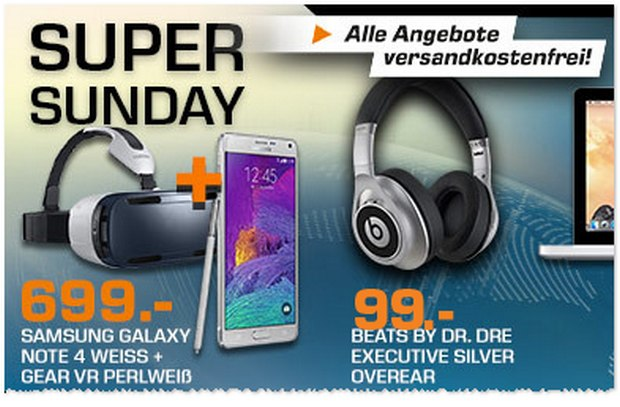 Samsung Galaxy Note 4 in Weiß am Saturn Super Sunday