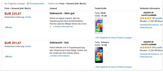 Samsung Galaxy S5 mini in den Amazon Warehouse Deals