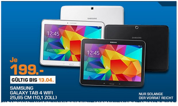 Saturn Montagsangebot am 13.4.2015: Samsung Galaxy Tab 4 für 199 €