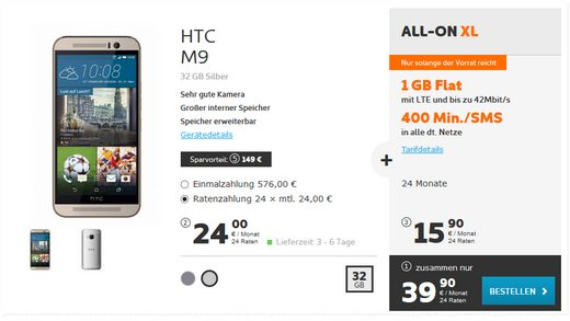 Simyo All-on XL + HTC One M9 für 39,90 €