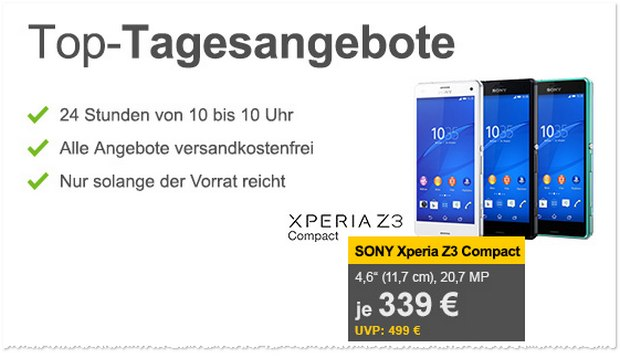 Sony Xperia Z3 cpmpact ohne Vertrag als Allyouneed-Tagesangebot