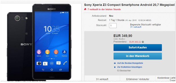 sony xperia z3 compact ohne vertrag 199. Black Bedroom Furniture Sets. Home Design Ideas