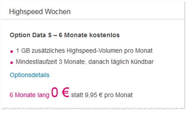 Telekom Option Data S gratis