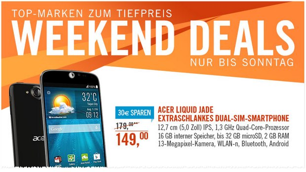 Acer Liquid Jade Plus als Cyberport Weekend Deal für 149 €