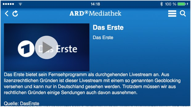 ARD Live-Stream via Mediathek-App
