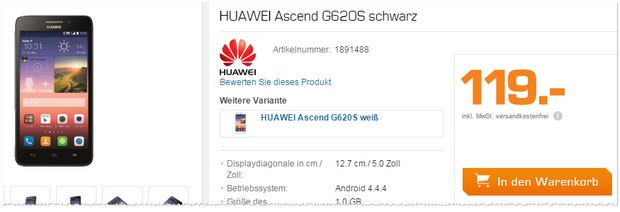 Huawei Ascend G620s bei Saturn am Super Sunday (31.5.2015) für 119 €