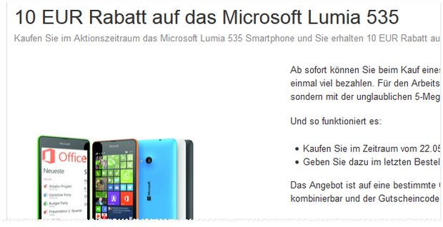 Lumia 535 mit 10 € Rabatt bei Amazon