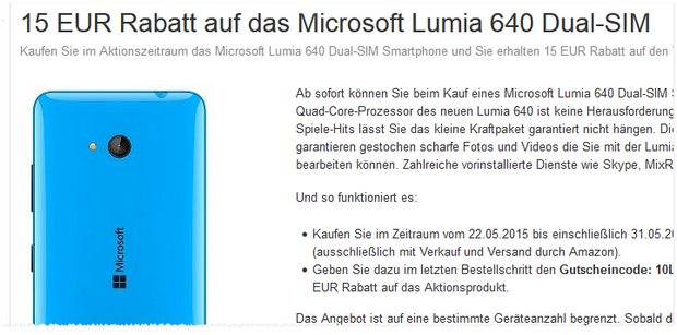 Lumia 640 mit 15 € Rabatt bei Amazon