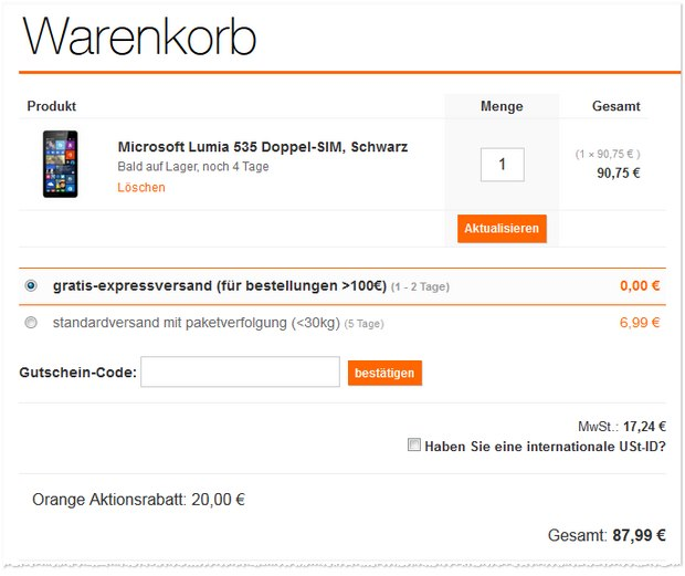 Microsoft Lumia 535 bei Orange 20 € billiger