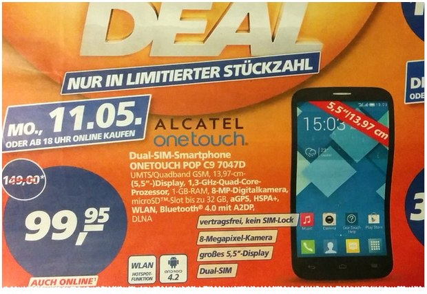 Real Deal des Tages am 11.5.2015: Alcatel One Touch Pop C9 für 99,95 €