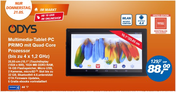 Real Deal des Tages am 21.5.2015: Odys Primo für 88 €