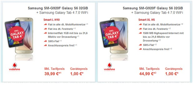 Samsung Galaxy S6 + Vodafone Smart L + Galaxy Tab 4 Deal bei Preisboerse24